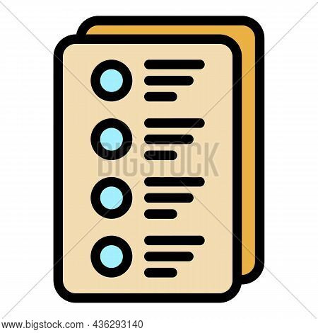 Democracy Voting Form Icon. Outline Democracy Voting Form Vector Icon Thin Line Color Flat On White