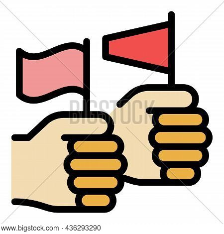 Democracy Hand Flag Icon. Outline Democracy Hand Flag Vector Icon Color Flat Isolated