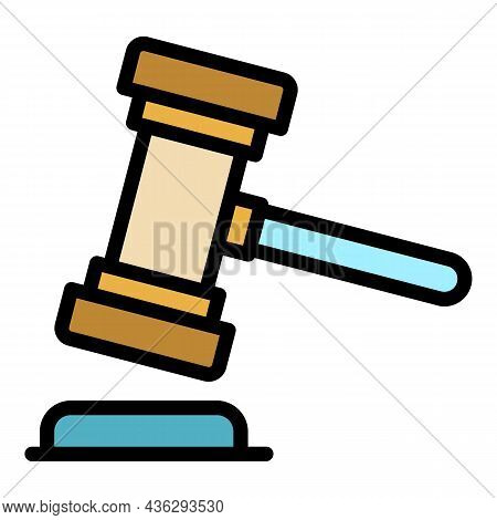 Democracy Hammer Icon. Outline Democracy Hammer Vector Icon Color Flat Isolated