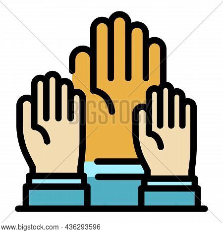 Democracy Hands Icon. Outline Democracy Hands Vector Icon Color Flat Isolated