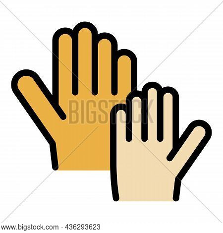 Hand Up Vote Icon. Outline Hand Up Vote Vector Icon Color Flat Isolated