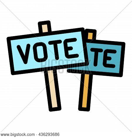 Vote Protest Icon. Outline Vote Protest Vector Icon Color Flat Isolated