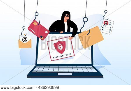 Hacker And Cyber Criminals Phishing Stealing Private Personal Data, User Login, Password, Document,