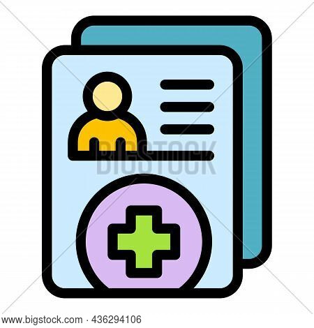 Digital Patient Form Icon. Outline Digital Patient Form Vector Icon Thin Line Color Flat On White