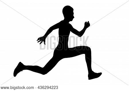 Young Athlete Jumper Triple Jump Black Silhouette