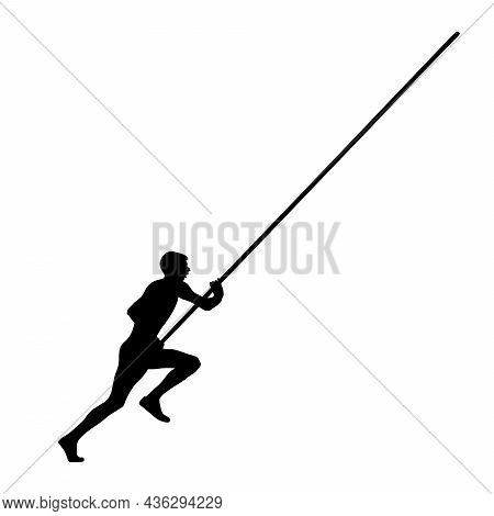 Male Athlete Pole Vaulter In Black Silhouette