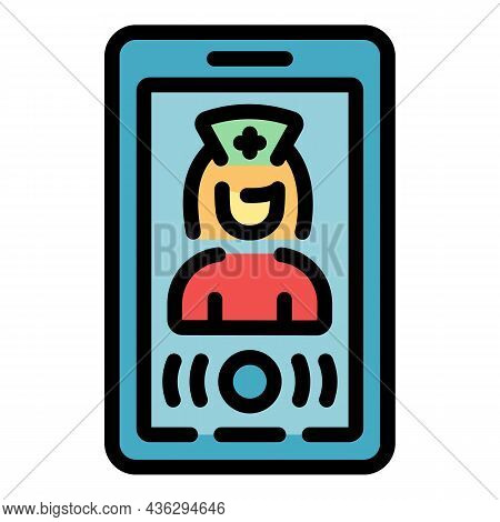 Online Medical Consultation Icon. Outline Online Medical Consultation Vector Icon Color Flat Isolate