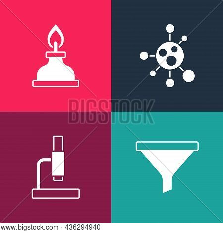 Set Pop Art Funnel Or Filter, Microscope, Molecule And Alcohol Spirit Burner Icon. Vector