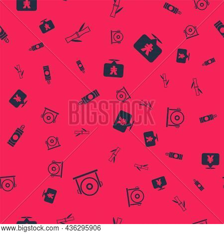 Set Gong, Bamboo, Firework And Chinese Yuan Currency On Seamless Pattern. Vector