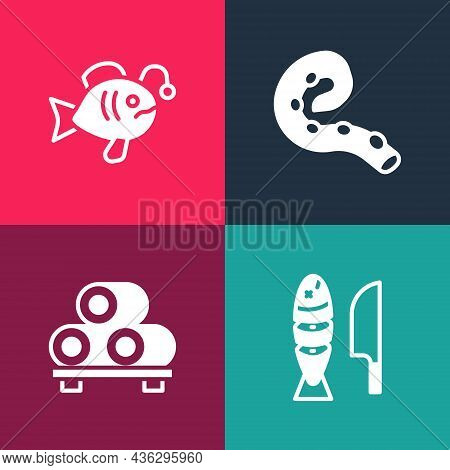 Set Pop Art Fish With Sliced Pieces, Sushi On Cutting Board, Octopus Of Tentacle And Tropical Fish I