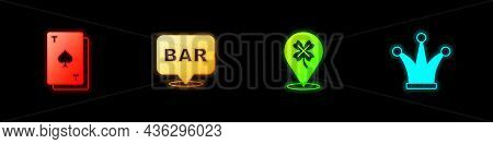 Set Playing Card With Spades, Alcohol Bar Location, Casino Slot Machine Clover And Joker Playing Ico