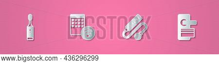 Set Paper Cut Electric Toothbrush, Air Humidifier, Extension Cord And Digital Door Lock Icon. Paper