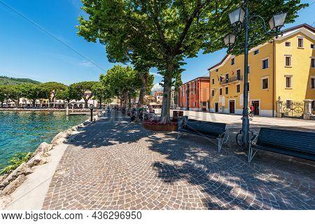 Garda, Italy - May 26, 2021: Downtown Of Garda, Village And Tourist Resort On The Coast Of Lake Gard