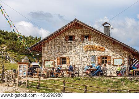 Dobbiaco, Italy - Sept 7, 2021: Alpine Mountain Hut Called Malga Grava Longa Or Langalm Hutte, 2283