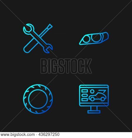 Set Line Diagnostics Condition Of Car, Car Tire Wheel, Screwdriver And Wrench Spanner And Headlight.