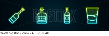 Set Line Opened Bottle Of Wine, Alcohol Drink Rum, Beer And Glass Vodka. Glowing Neon Icon. Vector