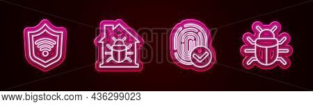 Set Line Shield With Wifi Wireless, House System Bug, Fingerprint And System. Glowing Neon Icon. Vec