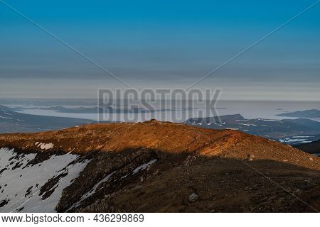 Sunrise With A View Of The Vilyuchinsky Volcano From The Top Of The Gorely Volcano On The Kamchatka