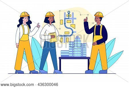 Workers At Construction Plan. Man Explains Process Of Building, Floor Plan. Engineer Demonstrates Di