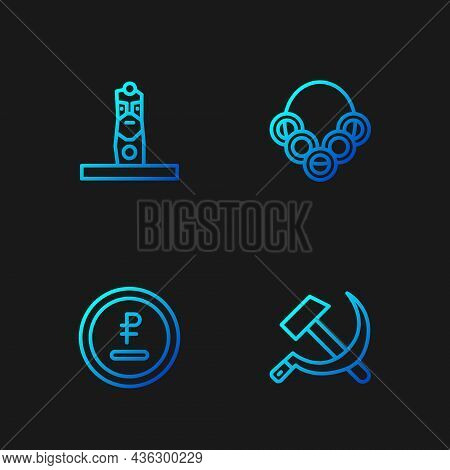 Set Line Hammer And Sickle Ussr, Rouble, Ruble Currency, Slavic Pagan Idol And Russian Bagels. Gradi