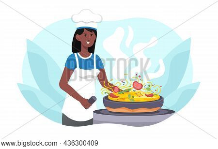 African Woman Cooking Noodles. Preparing Lunch, Delicious Food, International. Cook Works In Kitchen