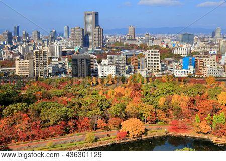 Osaka, Japan - November 22, 2016: Cityscape Of Osaka City, Japan With Tenma Neighborhood (in Kita Di