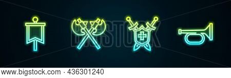 Set Line Medieval Flag, Crossed Medieval Axes, Shield With Swords And Trumpet. Glowing Neon Icon. Ve