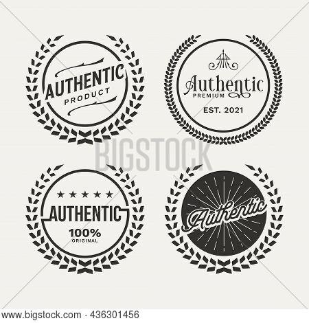 Authentic Logo Badge Set Bundle. Retro Insignias Vintage Or Logotypes Set. Vector Design Elements, B