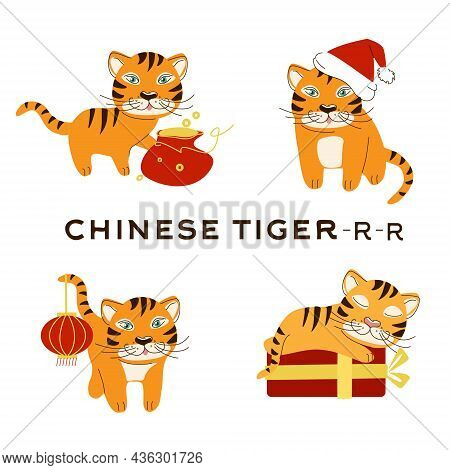 A Collection Of Bengal Tigers With Items For The Chinese New Year. Vector Illustration In Hand-drawn
