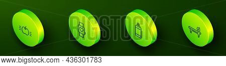 Set Isometric Line Apple, Smart Watch, Punching Bag And Bench With Barbel Icon. Vector