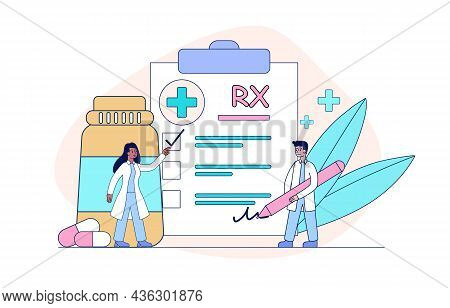 Rx Medical Prescription Concept. Pharmacists Sign List Of Medications Prescribed To Patient. Doctor