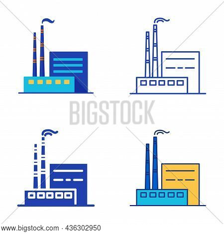 Coal Power Plant Set In Flat And Line Style