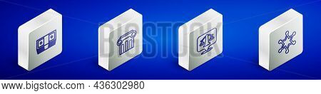 Set Isometric Line Bribe Money Cash, Law Pillar, Scales Of Justice And Hexagram Sheriff Icon. Vector