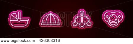 Set Line Baby Stroller, Hat, Crib Hanging Toys And Dummy Pacifier. Glowing Neon Icon. Vector
