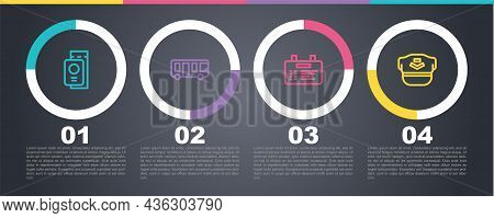 Set Line Passport With Ticket, Airport Bus, Board And Pilot Hat. Business Infographic Template. Vect