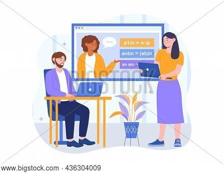 Online Math Courses Concept. Man And Woman Watch Webinar On Algebra Using Laptops. Teacher Explains