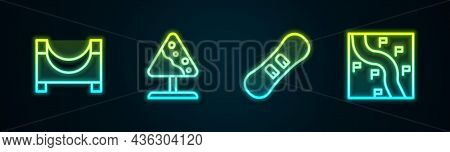 Set Line Skate Park, Road Sign Avalanches, Snowboard And Route Location. Glowing Neon Icon. Vector