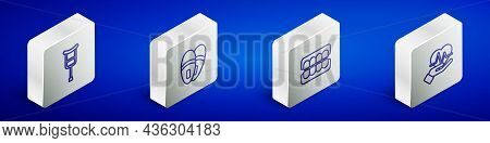 Set Isometric Line Crutch Or Crutches, Slippers, False Jaw And Heart Rate Icon. Vector