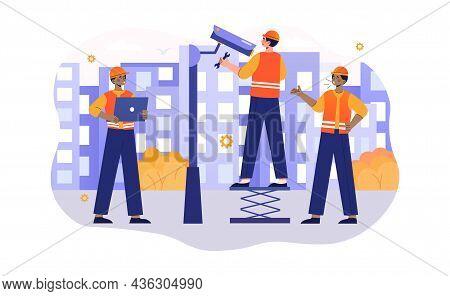 Cctv Installation Concept. Employees Of Company Install Camera On City Street. Video Surveillance Fo