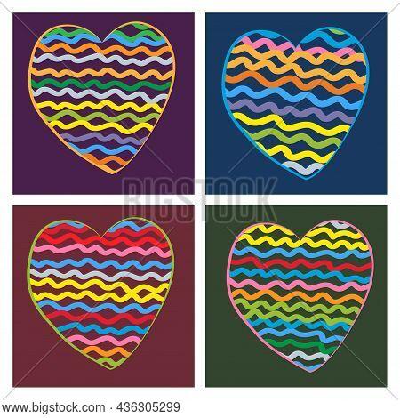 Cartoon Rainbow Colourful Wavy Hearts. Hand Drawn Color Art Vector Illustration Set. Simple, Doodle,