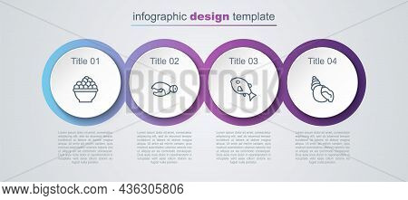 Set Line Caviar, Lobster Or Crab Claw, Tropical Fish And Scallop Sea Shell. Business Infographic Tem
