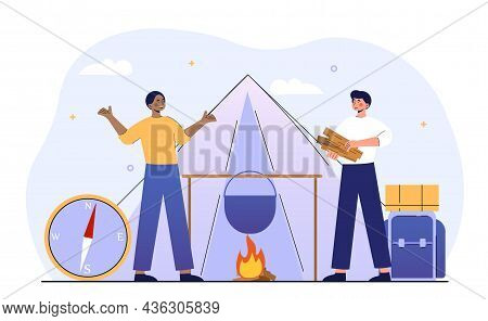 Camping Equipment Concept. Men Put Up Tent And Make Fire With Help Of Firewood. Hiking In Forest. Co