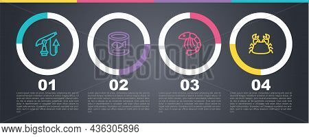 Set Line Fishing Harpoon, Canned Fish, Shrimp And Crab. Business Infographic Template. Vector