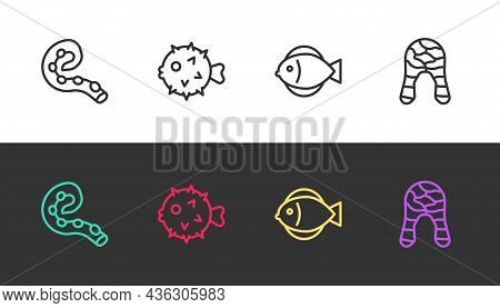 Set Line Octopus Of Tentacle, Fish Hedgehog, And Steak On Black And White. Vector