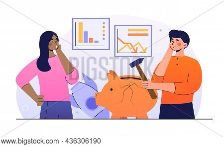 Business Fall Concept. Sad Man And Woman With Bad Financial Situation. Global Crisis And Decline In