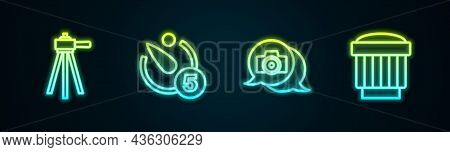 Set Line Tripod, Camera Timer, Photo Camera And Photo Lens. Glowing Neon Icon. Vector