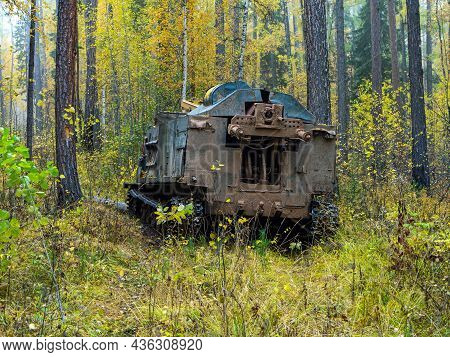 Drilling Rig On A Tracked Chassis In The Forest. Machine For Exploration Geological Drilling