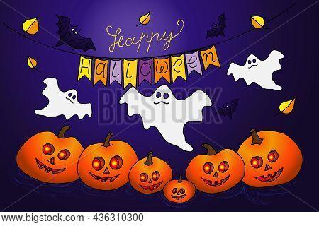 Happy Halloween Vector Lettering With Pumpkin, Wizard Hat, Ghost, Spirit, Scull, Bat, Spider, Cat, W
