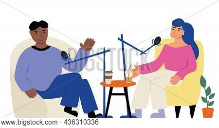 Vector Illustration Of An Online Live Broadcast Or Podcast. Recording Videos In Bloggers' Studio, In