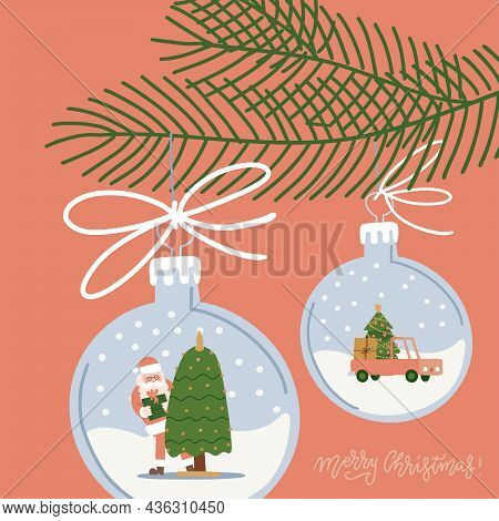Christmas Tree Decorations - Hanging Balls With Snow Landscape Inside. Fir Branch With Baubles Holdi
